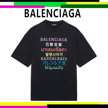 BALENCIAGA Crew Neck Men's Languages Medium Fit T-Shirt In Black/Multicolor