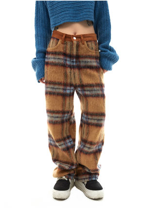 OPEN THE DOOR Other Plaid Patterns Casual Style Wool Street Style Long