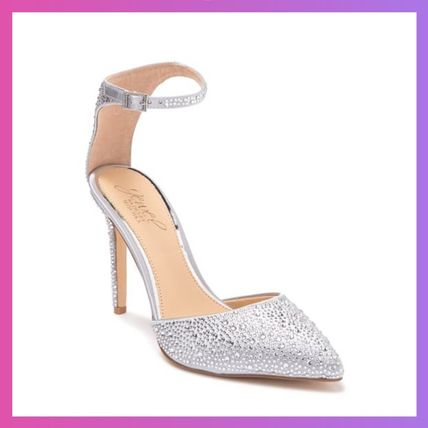 Plain Pin Heels Party Style With Jewels Elegant Style