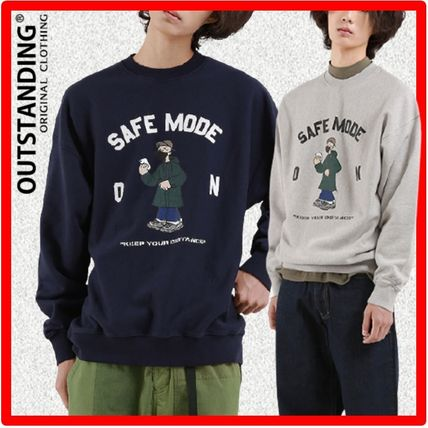 OUTSTANDING & CO Sweatshirts Unisex Long Sleeves Cotton Street Style Sweatshirts