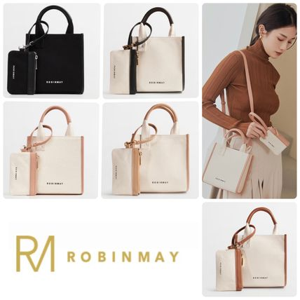 ROBINMAY Casual Style Canvas 2WAY Plain Party Style Office Style