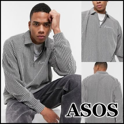 ASOS Polos Pullovers Stripes Street Style Long Sleeves Plain