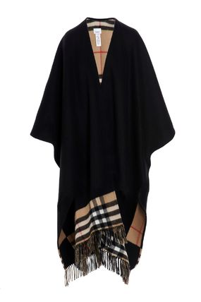 Burberry Other Plaid Patterns Wool Cashmere Medium Long Fringes