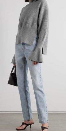 Casual Style Wool Cashmere Plain Medium Puff Sleeves
