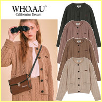 WHO.A.U Cable Knit Casual Style Street Style Long Sleeves Plain