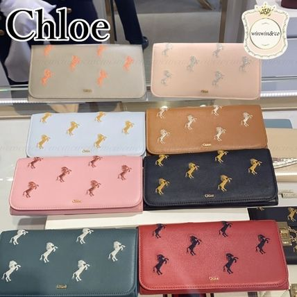 Chloe Other Animal Patterns Leather Logo Long Wallets