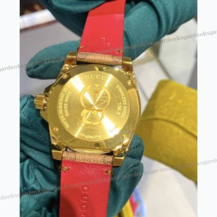 GUCCI Casual Style Unisex Collaboration Leather Round