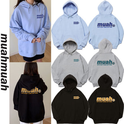 muahmuah Street Style Long Sleeves Logo Hoodies & Sweatshirts