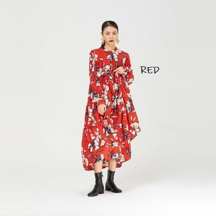 Crew Neck Flower Patterns Casual Style Maxi A-line Nylon