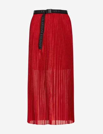 Casual Style Pleated Skirts Plain Medium Long Party Style