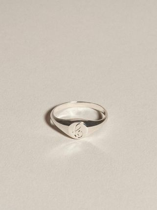 Casual Style Initial Silver Elegant Style Pinkie Ring Rings