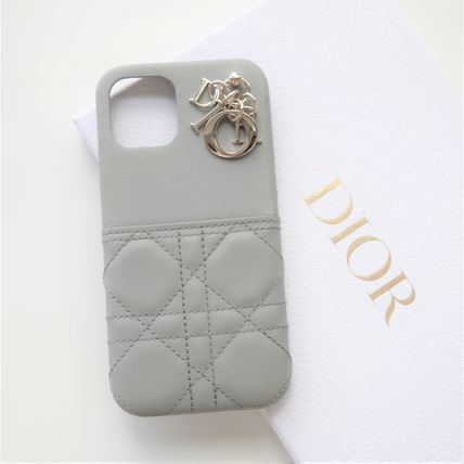 Christian Dior LADY DIOR Leather Logo Smart Phone Cases