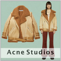 Ance Studios Casual Style Fur Street Style Plain Leather Shearling