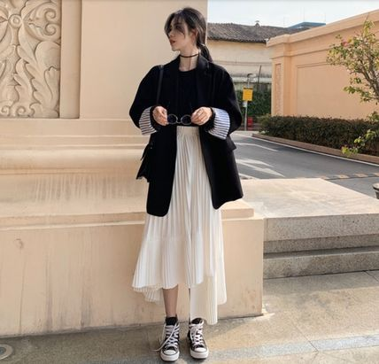 Flared Skirts Pleated Skirts Plain Long Party Style