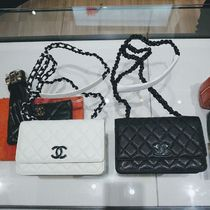 CHANEL CHAIN WALLET Casual Style Calfskin 2WAY 3WAY Plain Leather Party Style