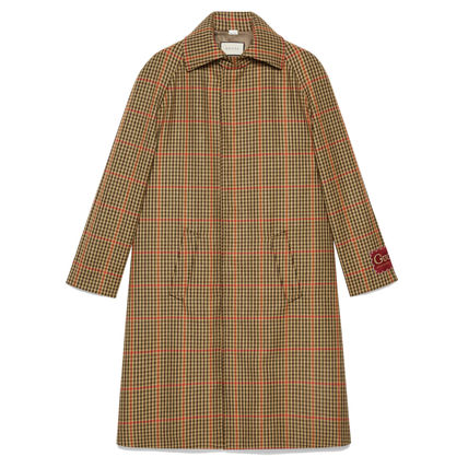 GUCCI Check Wool Coat With Gucci Label