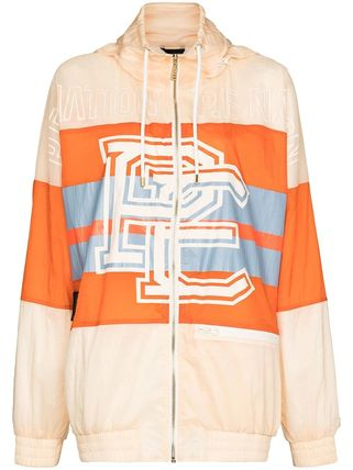 Nylon Jacket  Logo Front Button Icy Color Short Stripes