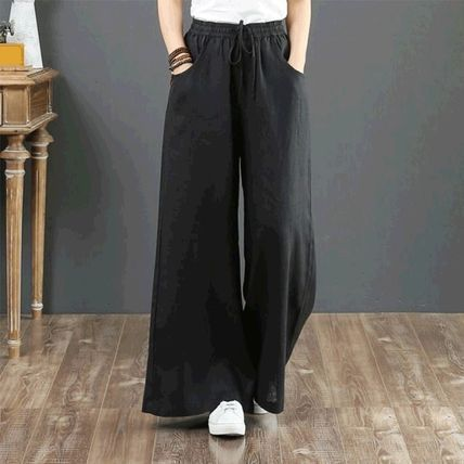 Casual Style Linen Plain Long Office Style Culottes