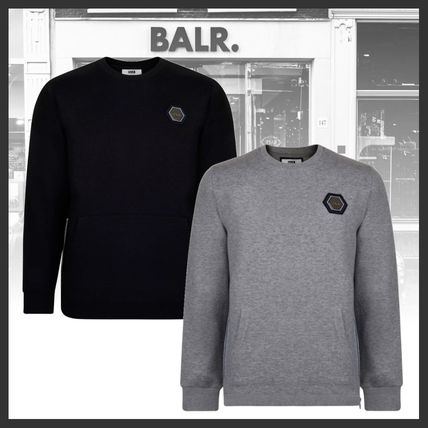 BALR Sweatshirts Crew Neck Street Style Long Sleeves Plain Cotton Logo