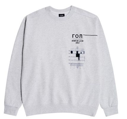 acme de la vie Crew Neck Unisex Street Style Collaboration Long Sleeves