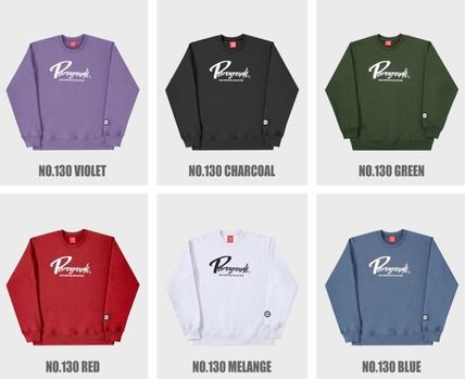 Paragraph Unisex Street Style Long Sleeves Plain Logo