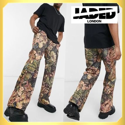 JADED LONDON More Jeans Flower Patterns Unisex Sweat Street Style Jeans