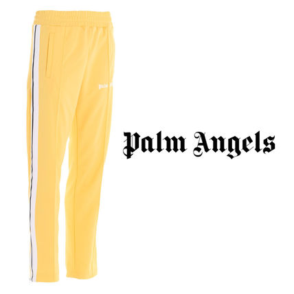 Palm Angels Tapered Pants Printed Pants Unisex Street Style Plain Cotton