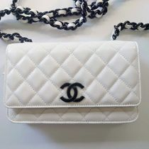 CHANEL CHAIN WALLET Casual Style Calfskin 2WAY 3WAY Chain Plain Party Style
