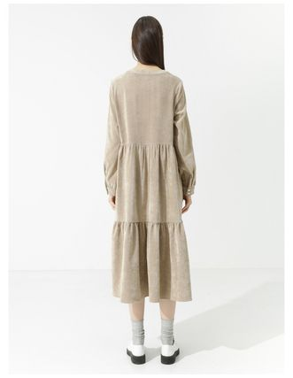 Casual Style Corduroy Flared Long Sleeves Plain Long