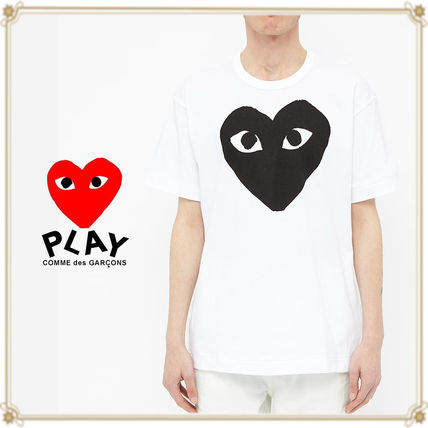 PLAY COMME des GARCONS Crew Neck Crew Neck Pullovers Heart Street Style Cotton Short Sleeves