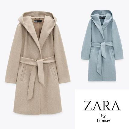ZARA Casual Style Plain Medium Long Office Style Wrap Coats
