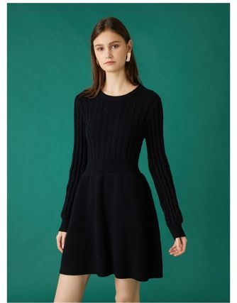 Crew Neck Casual Style Flared Long Sleeves Plain Dresses