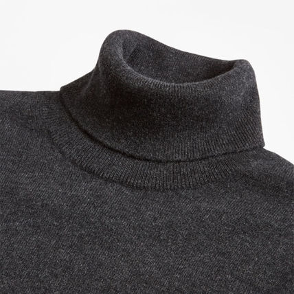 Cashmere Street Style Long Sleeves Plain Sweaters