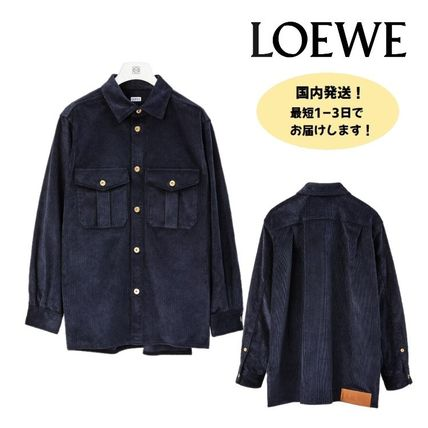 LOEWE Shirts Corduroy Street Style Long Sleeves Plain Cotton Luxury