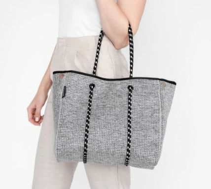 Casual Style A4 Plain Office Style Logo Totes