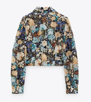 ZARA Flower Patterns Casual Style Long Sleeves Shirts & Blouses