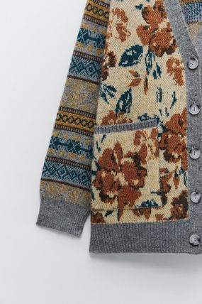 ZARA Flower Patterns Casual Style Wool Long Sleeves Cardigans