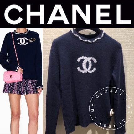 CHANEL ICON Crew Neck Casual Style Cashmere Street Style Bi-color