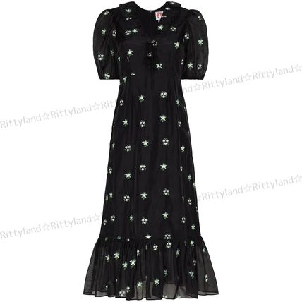 Flower Patterns Medium Puff Sleeves Dresses