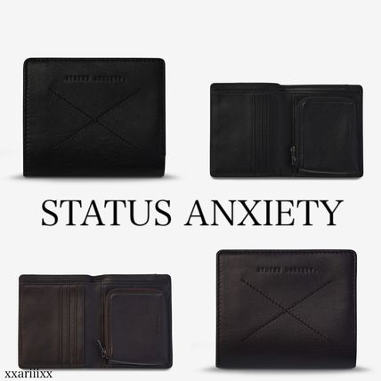 Folding Wallet Long Wallet  Logo Unisex Plain Leather