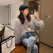 Cable Knit Casual Style Blended Fabrics Long Sleeves Plain
