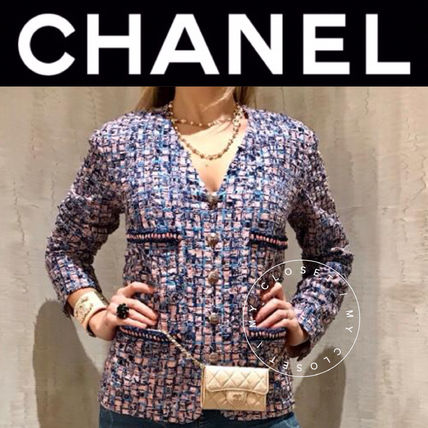 CHANEL ICON Other Plaid Patterns Casual Style Tweed Blended Fabrics