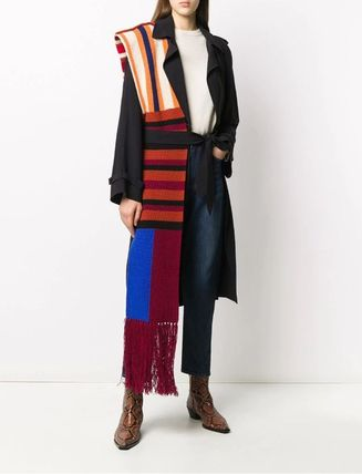 Stripes Unisex Wool Street Style Fringes Oversized