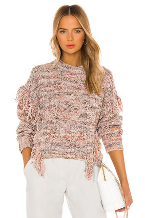 Joie Crew Neck Cable Knit Short Casual Style Long Sleeves Medium