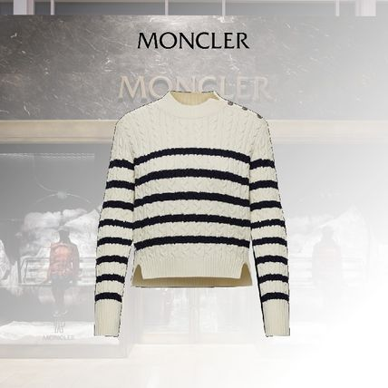 MONCLER Cable Knit Stripes Casual Style Long Sleeves Medium
