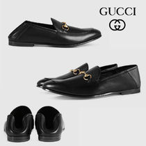GUCCI Unisex Street Style Leather Logo Oxfords