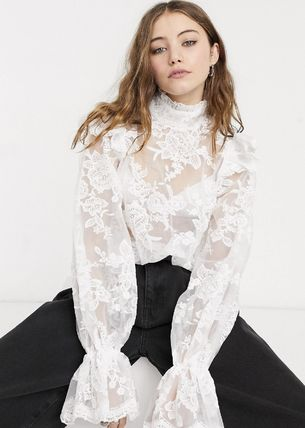 Flower Patterns Casual Style Street Style Long Sleeves Plain