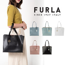 FURLA SALLY Casual Style Saffiano Plain Leather Party Style Office Style