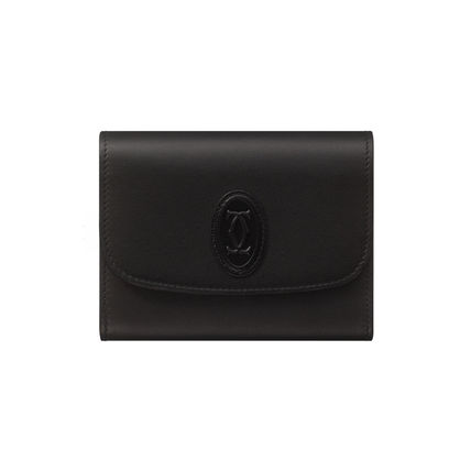 Small Wallet Logo Unisex Calfskin Plain Leather Bold