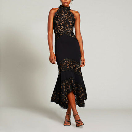 Tight Sleeveless Plain Long Party Style High-Neck Midi Lace